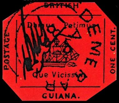 British Guiana One Cent Black on Magenta berani tampil beda