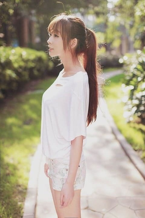 Poni dengan gaya rambut ponytail tinggi